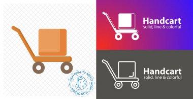 Handcart flat icon. line icon icon
