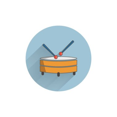 Drum colorful flat icon with long shadow. Drum flat icon