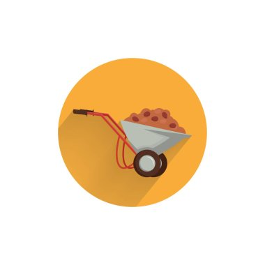 Handcart colorful flat icon with long shadow. handcart flat icon icon