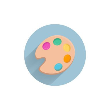 Color palette with brush. Paint palette flat icon. Painting kit colorful flat icon with long shadow. Painting flat icon