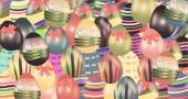 Fotografie buntes Osterei mit Muster als Hintergrund isoliert auf weißem Grund