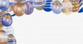 Fotografie bunte Ostereier mit Muster als Rahmen isoliert auf weiß