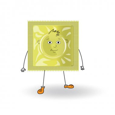 Yellow guy cartoon condom