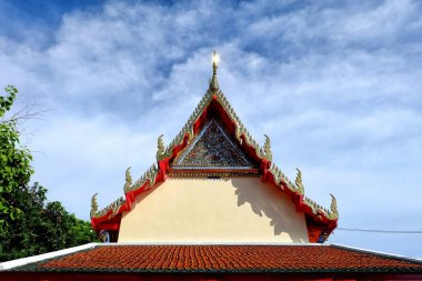Thai Temple Roof with Blue Sky.