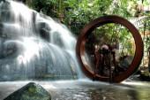 Water Wheel in Waterfall.