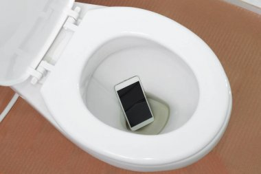 smartphone dropped into a toilet