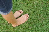 Állandó zöld füvön női láb