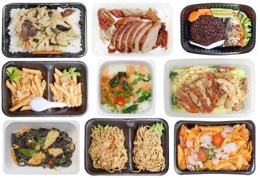 Takeaway food in microwavable containers