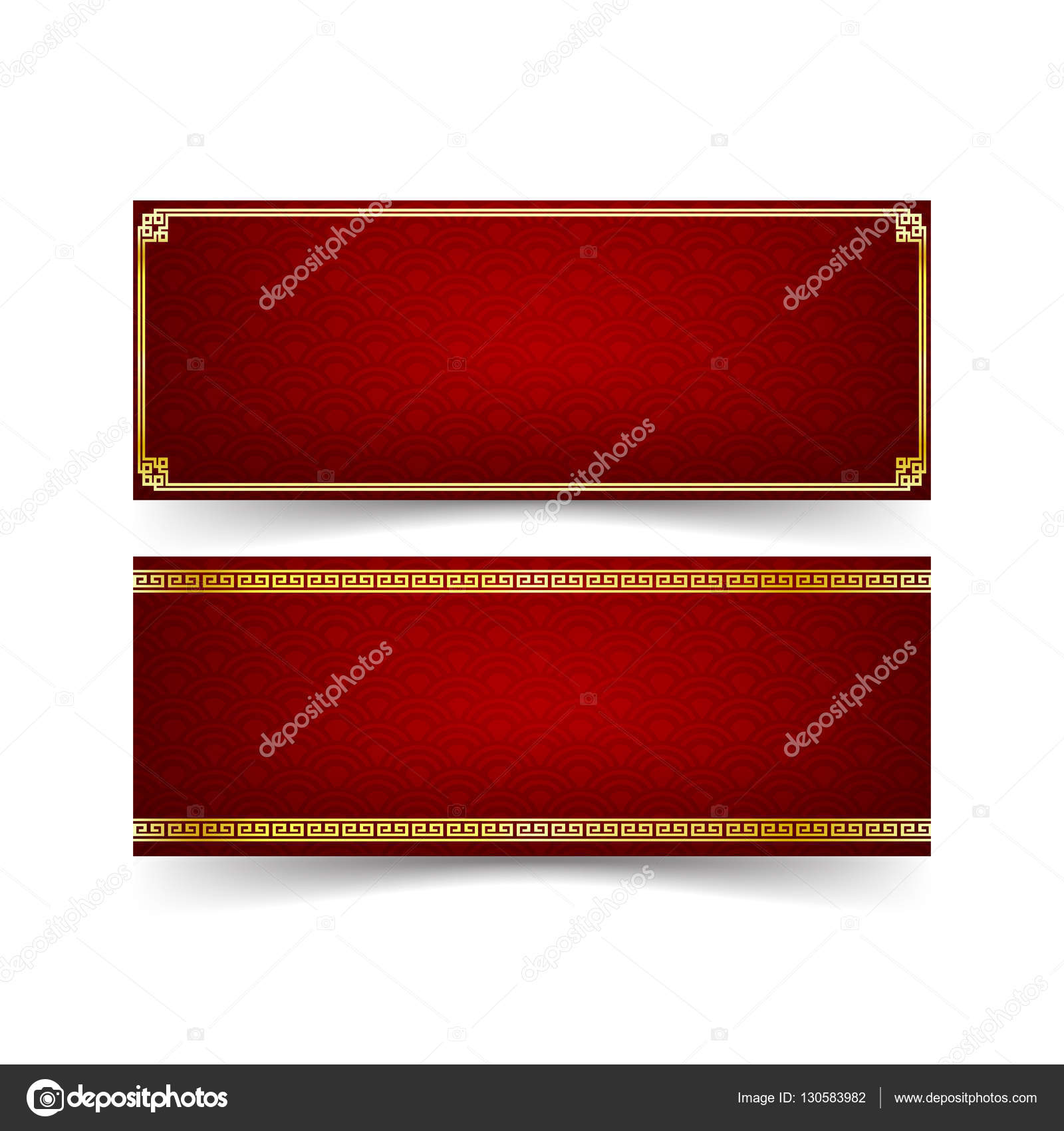 abstract chinese red banner background and gold border with modern art chinese style isolated on the white background vector illustration vector by