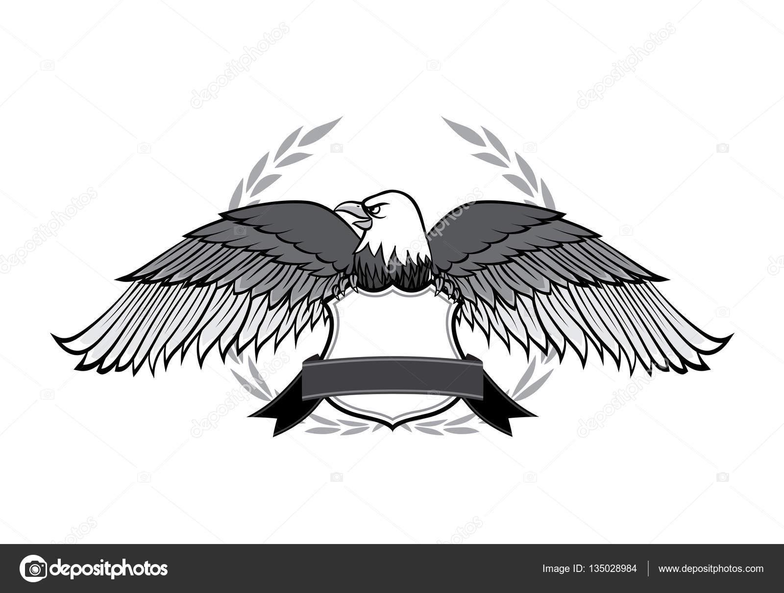 Eagle and badge symbol for logo and emblem design on white backg eagle and badge symbol for logo and emblem design on white backg stock vector biocorpaavc Images