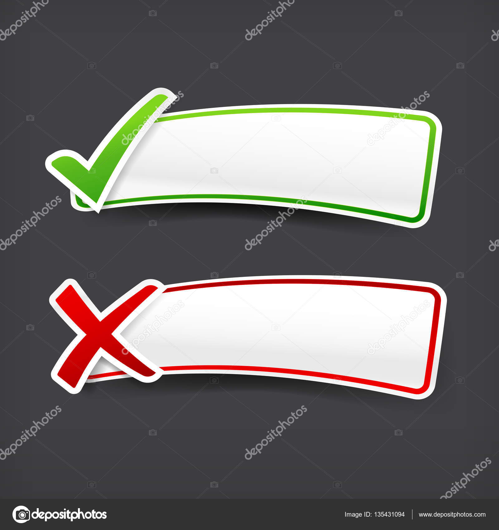 003 set of green and red check mark symbol and blank banner with set of green and red check mark symbol and blank banner with copy space vector illustration eps 10 vector by thekaikoroez biocorpaavc