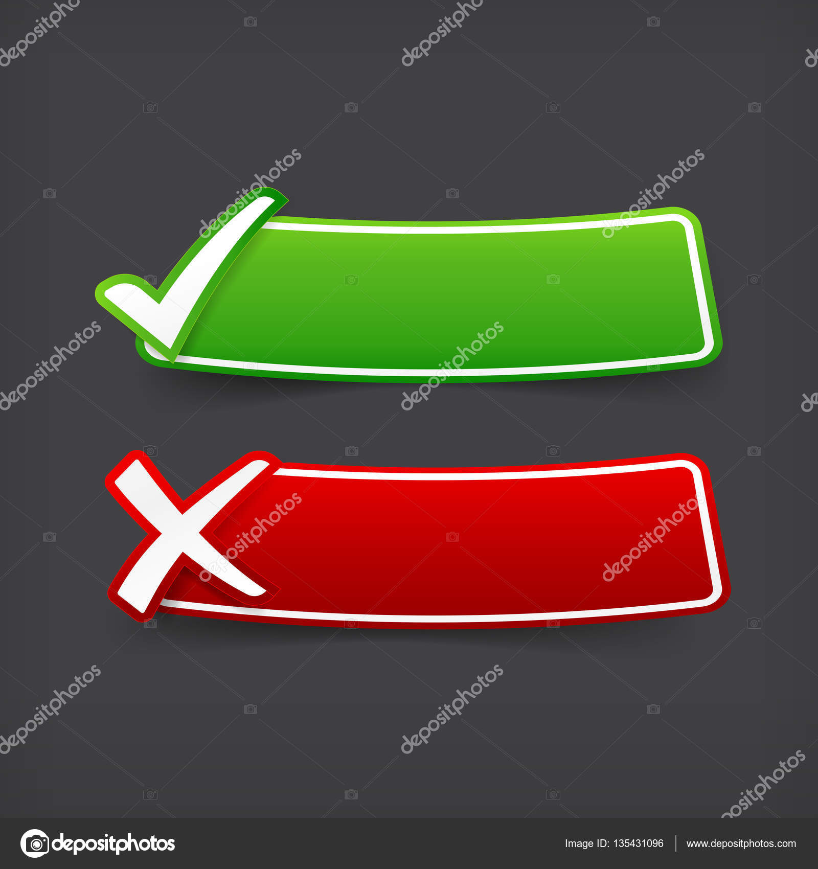 002 Set Of Green And Red Check Mark Symbol And Blank Banner With