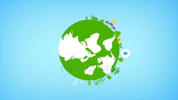 Rotate Globe and eco icon animation for ecology concept 4K Render 3840 x 2160