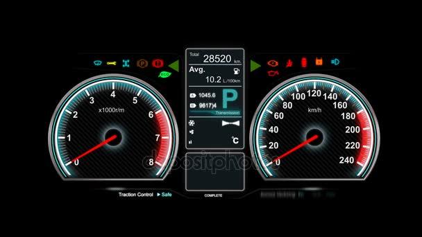 Animace auto řídicí panel rychlost ot/min měřidla a automobilové ikony pro dopravní koncepce