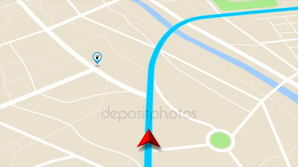 4K animation Moving GPS navigator on map with map and icon on location