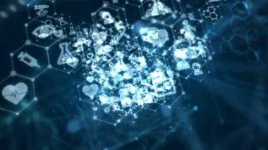4 k absztrakt háttér animációs mozgó átmennek pont és a kapcsolat sor orvosi és egészségügyi ikon futurisztikus számítógépes technológia keresztül sötét háttér