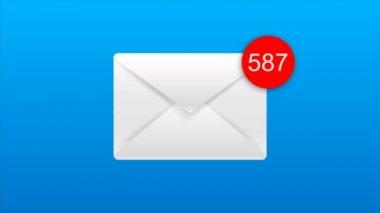 4 k animáció-a elektronikus levél boríték automatikus számolás száma a piros kör metafora jövedelem e-mail és masszázs, kék és fekete háttér, az alfa-csatornát
