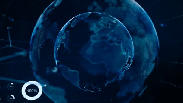 4k animation globe with dot world map hud and infographic graph bar 4k animation globe with dot world map hud and infographic graph bar element spin on dark gumiabroncs Gallery