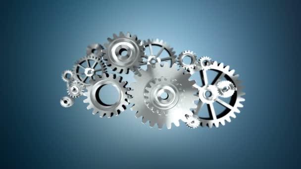 4K Animation 3D silver metal rotation mechanic wheel gear on dark background