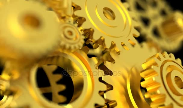 4K Animation 3D Rendering golden metal rotation mechanic wheel gear on the dark background