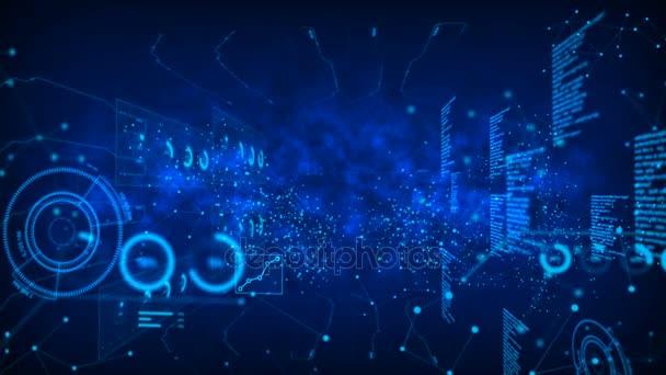 4 k animaci Dot kruh s přívodním kabelem s Hud element grafu bar na tmavém pozadí se obilí zpracována