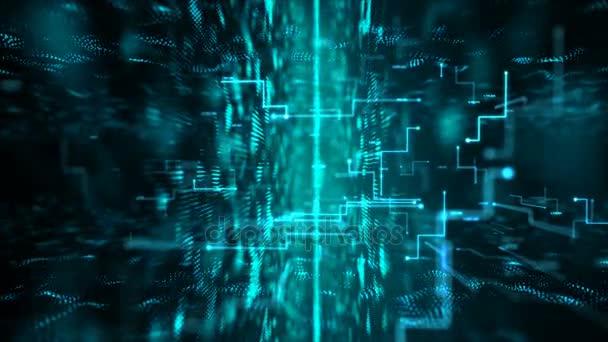 4k Animation 3d abstrakter dunkler Hintergrund bewegte Punkt und Linie Metapher Cyber futuristische Datenübertragungsnetzwerk Verbindungskonzept mit Korn verarbeitet