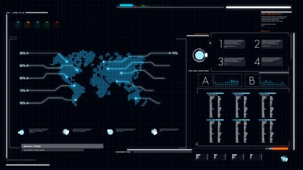 Uživatelské rozhraní uživatelské rozhraní tmavě modré pozadí s graf mapa světa bar pi a Hud element pro kybernetické technologie, futuristický koncept chlad a zpracování obilí