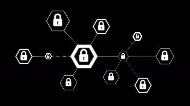 4 tvar šestiúhelníku animace k ikonou zámku pro sítě bezpečnostní visací zámek kybernetické technologie koncepci na černém pozadí