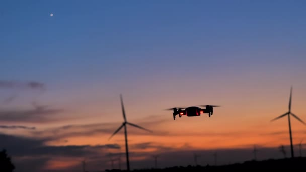 Drone flying to shoot photo and video at the twilight sunset dark and grain processed