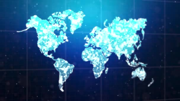 Abstract background map of the world, with lighting particle and glitter effect, with dark and grain processed and alpha matte