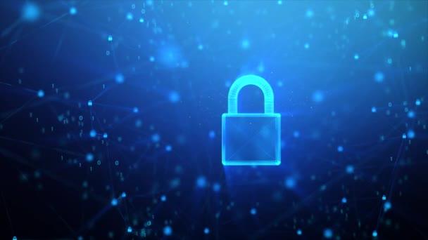 3D vykreslování zámek ikona s náhodným 0 1 binární číslice číslo a pozadí řetězu připojení, pro digitální data stráž a bezpečnostní koncepce, kyber futuristika, visací zámek bez světelné částice a třpytu efekt