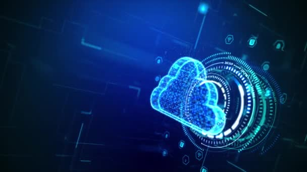 3D Rendering cloud computer concept, big data and network technology with dot and connection line element, cyber futuristic style, shallow depth of field effect, dark and grain process