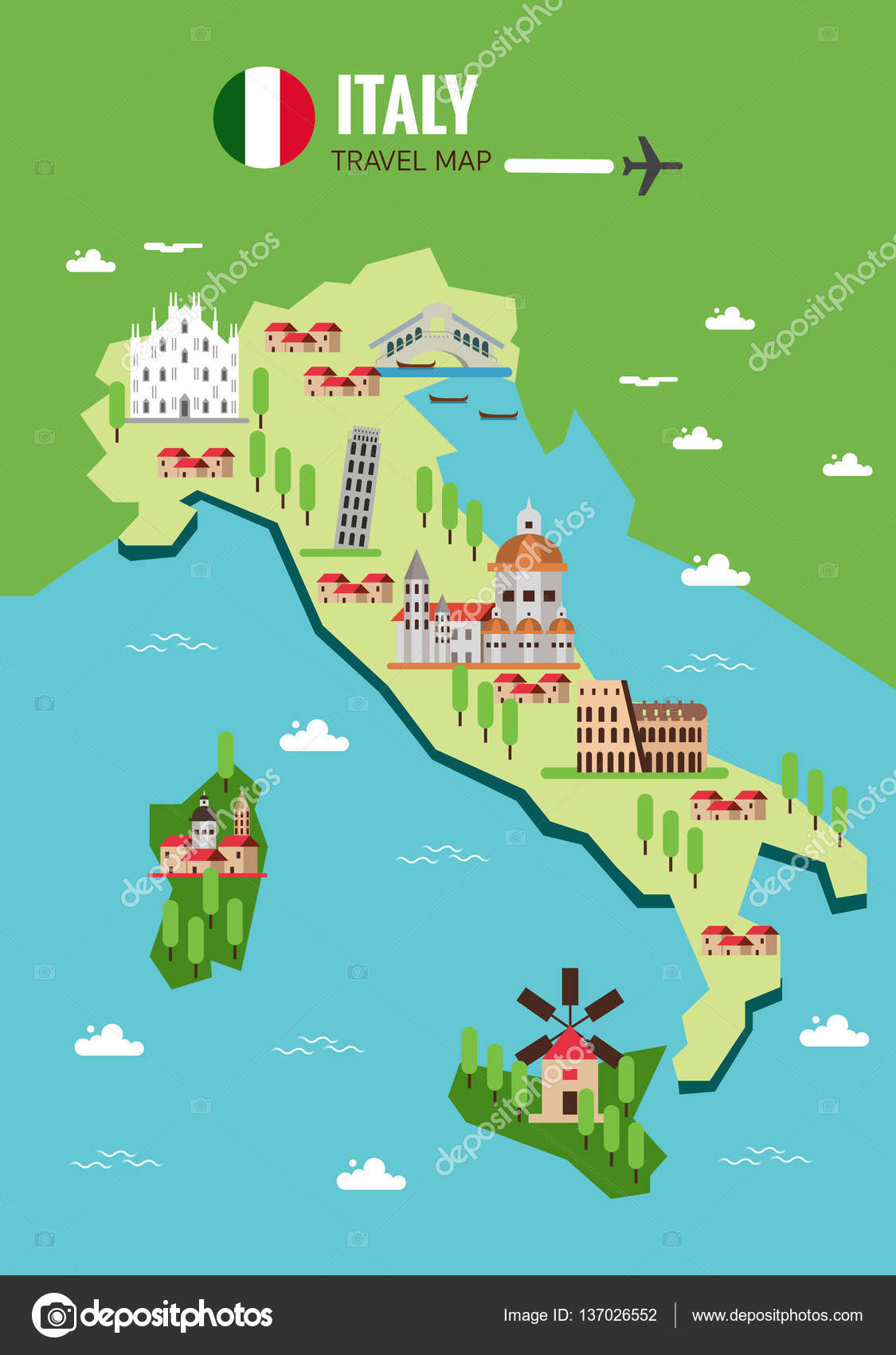 Italy travel map Italian Colosseum Milan Venice Sicilia and
