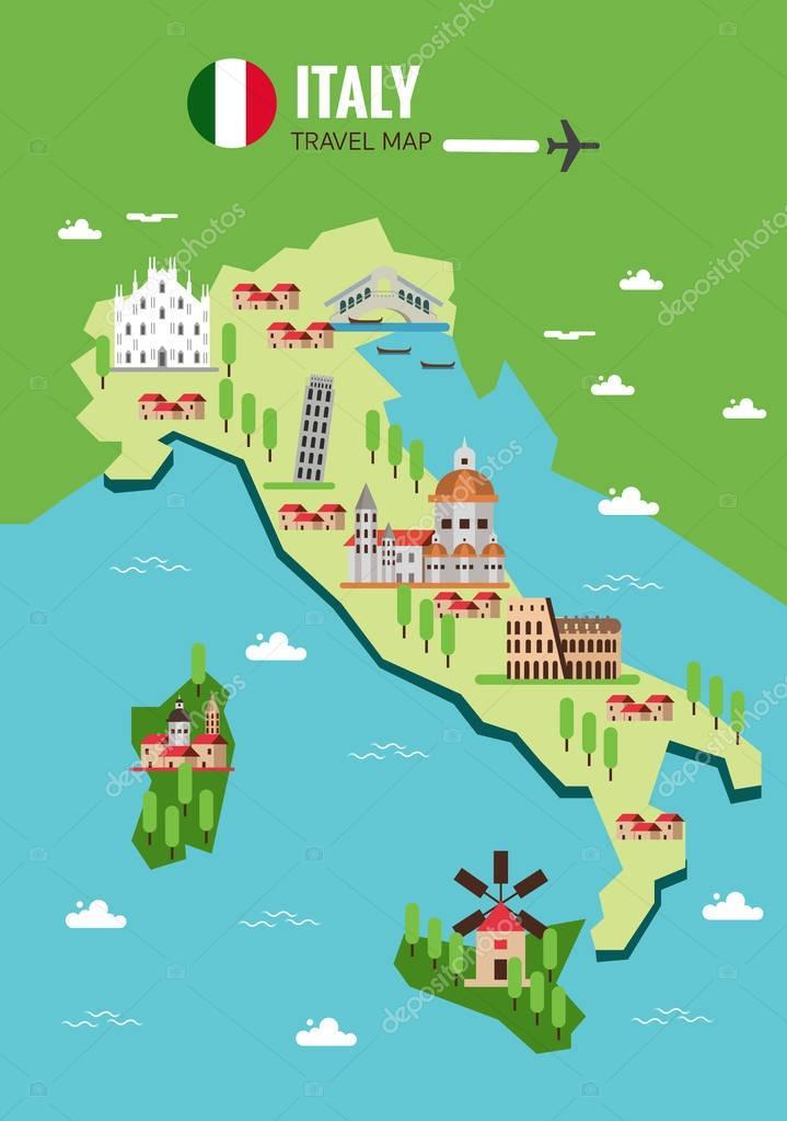 Italy Travel Map Italian Colosseum Milan Venice Sicilia And