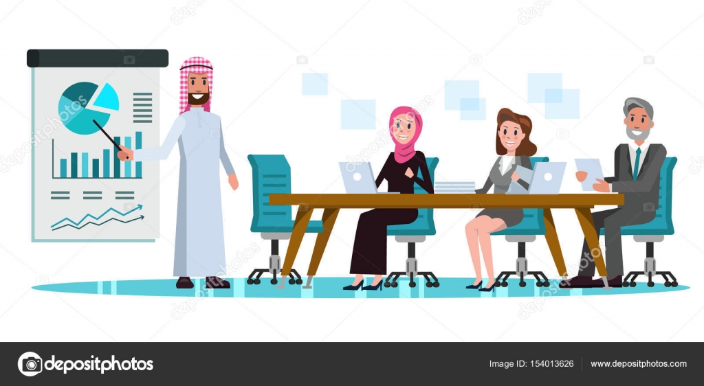 arabic businessman presenting business plan in meeting room business teamwork and partnership concept flat character design