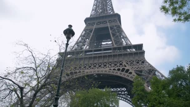 Eiffel Tower, Paris, France, Europe. View of the famous travel and tourism icon at daytime in summer spring with blue sky