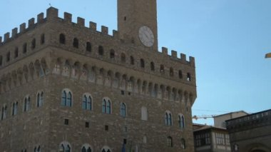 Florence, April 2017: Replica of Syrian Palmyras Arch of Triumph in Piazza della Signoria near Old Palace Palazzo Vecchio , on April 2017 in Florence, Tuscany, Italy