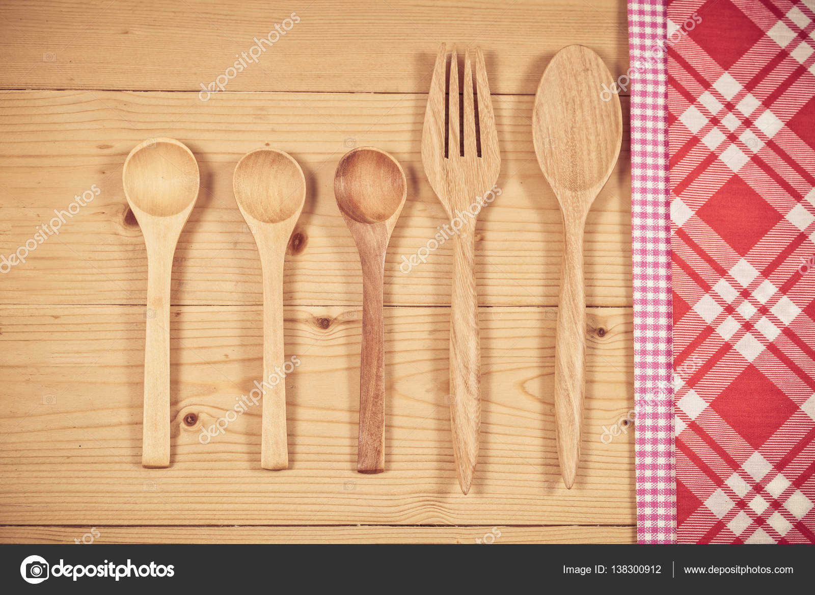 Color tablecloth, spoon, fork on table background — Stock Photo ...