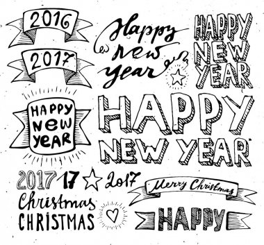 Hand draw Set Christmas and Happy New Year elements lettering