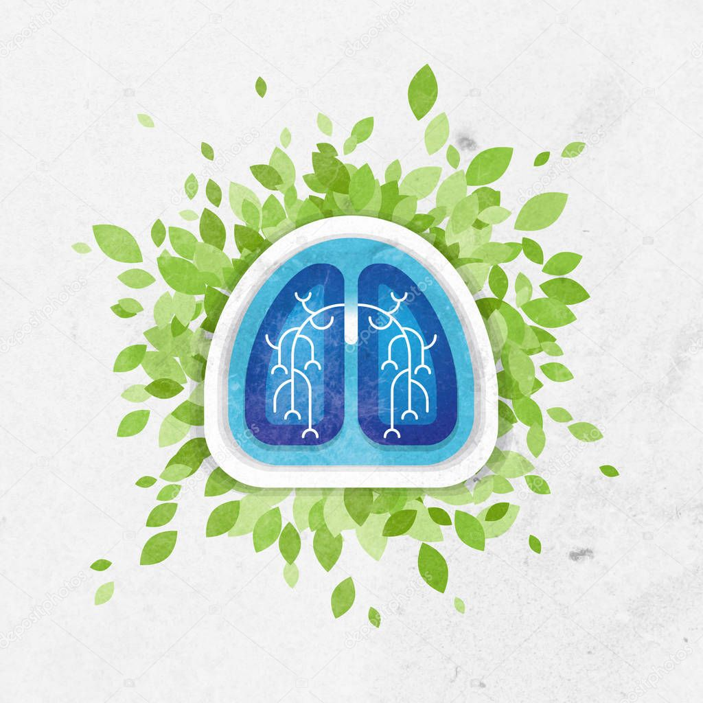 Lungs and leaves illustration, health concept