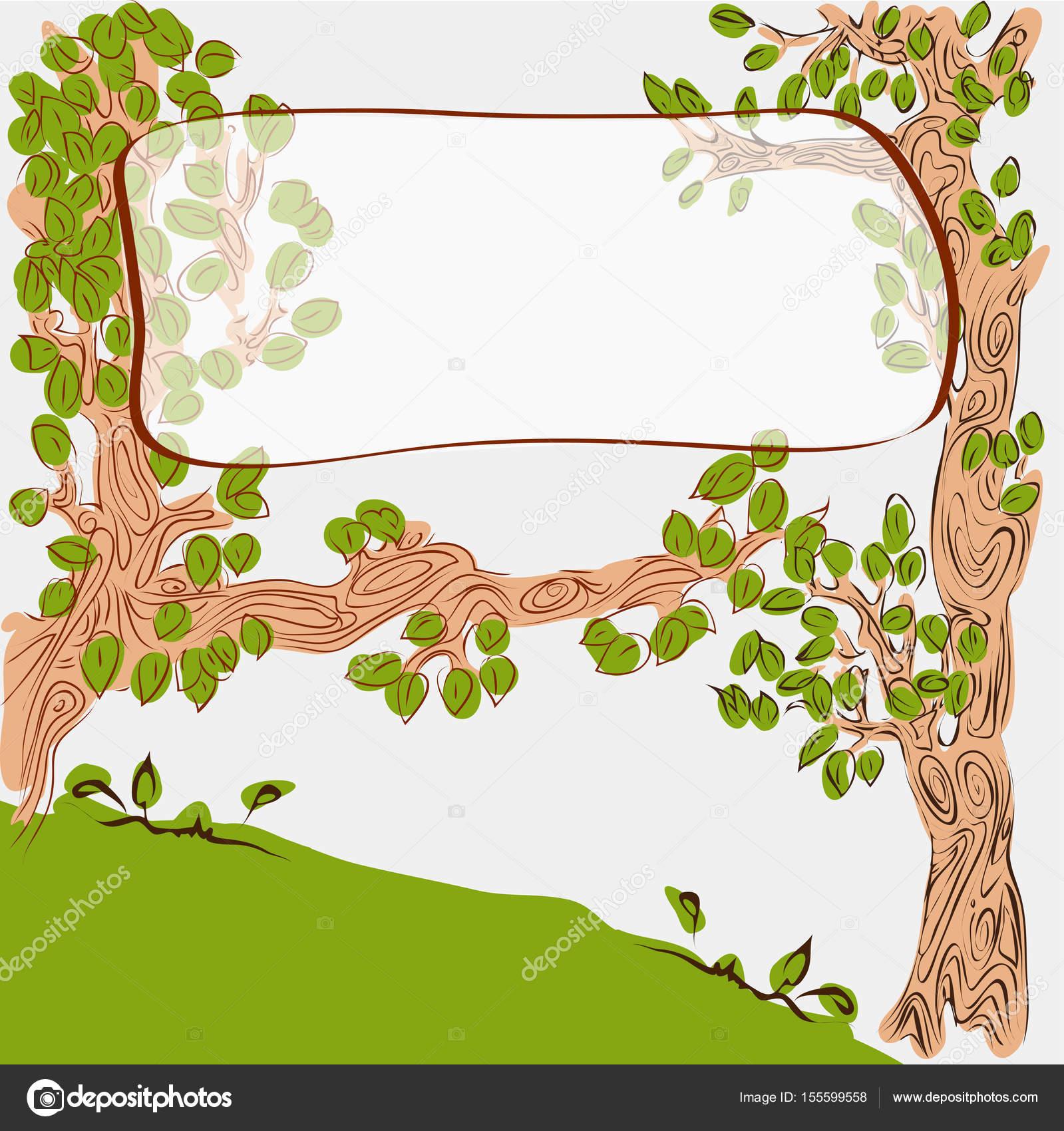 Dibujos Animados Lindos árboles Con Banner En Rama Archivo