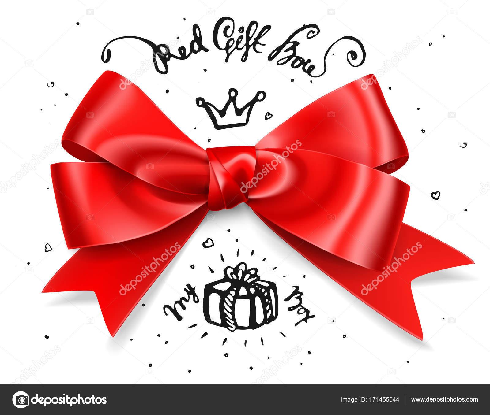 Arco Rosso Del Regalo Fiocco Di Raso Isolato Rosso Glamour Per