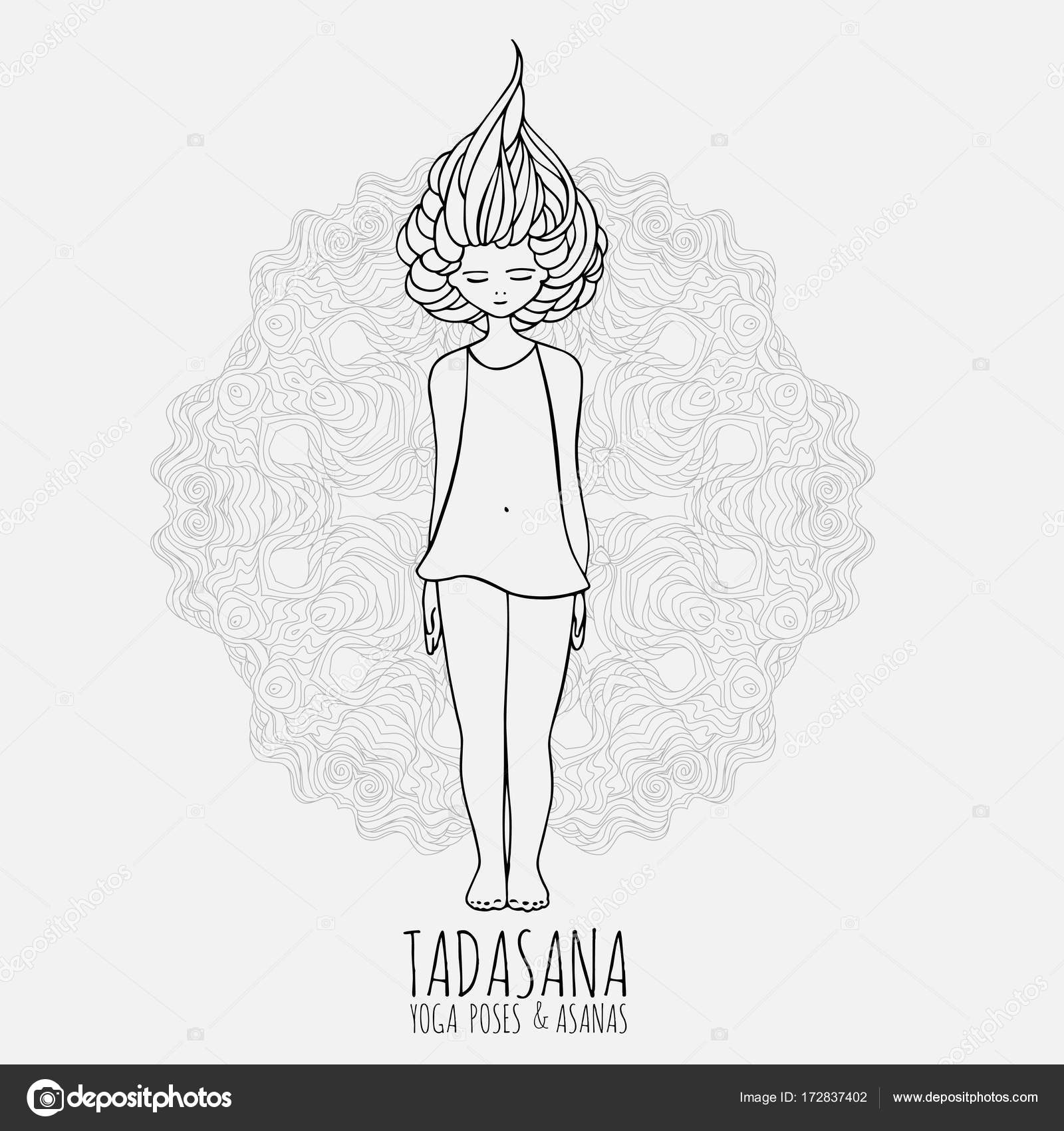 Cute Girl Doing Yoga Poses And Asanas In Hand Drawn Style Woman
