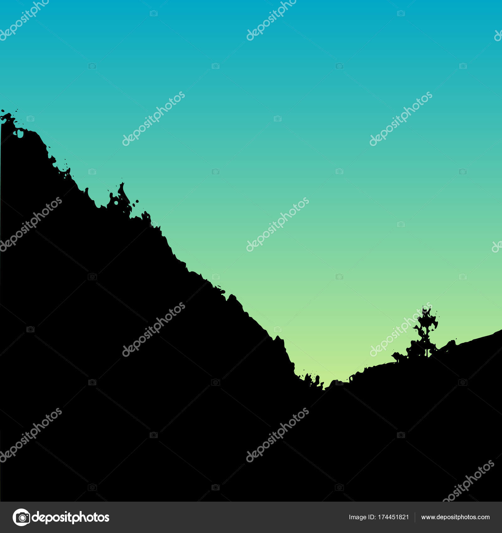 Vector landscape silhouette Realistic trees woods hills and