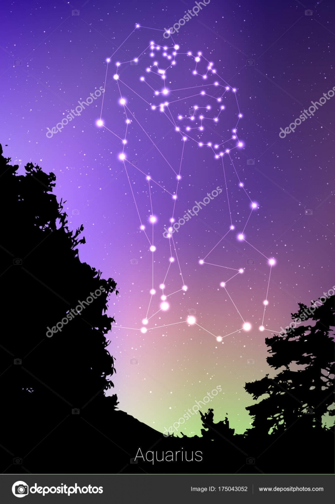 Aquarius Zodiac Constellations Sign With Forest Landscape Silhouette