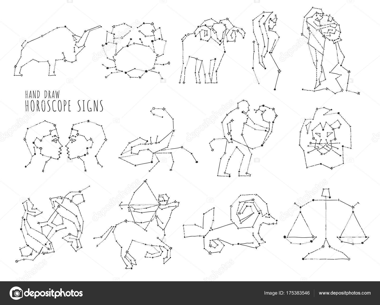 Hand Draw Horoscope Symbols All Zodiac Signs In Constellation Style