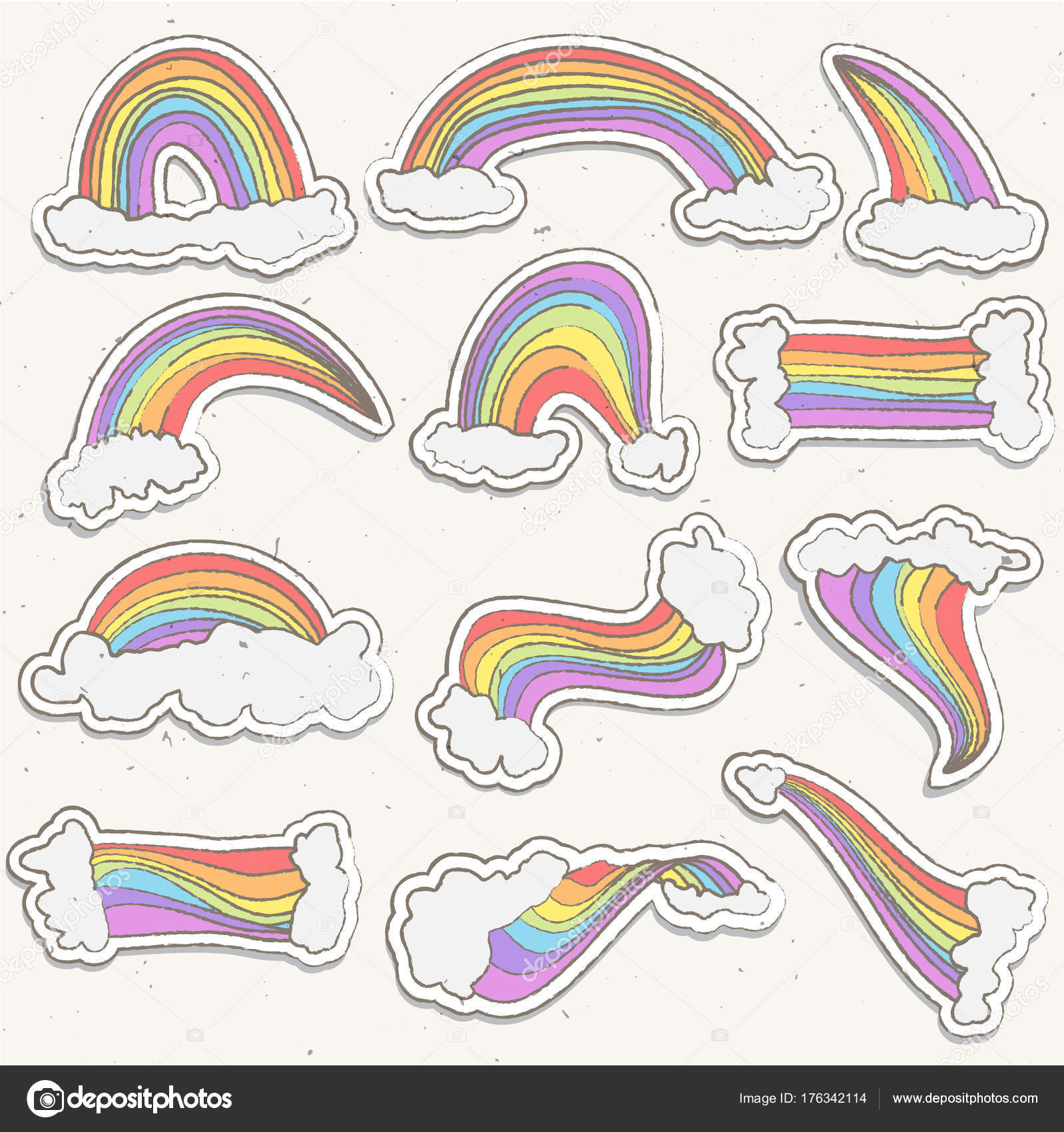 Cute rainbow sticker vector set. Rainbow cartoon sticker illustration with  clouds in sky. Hand