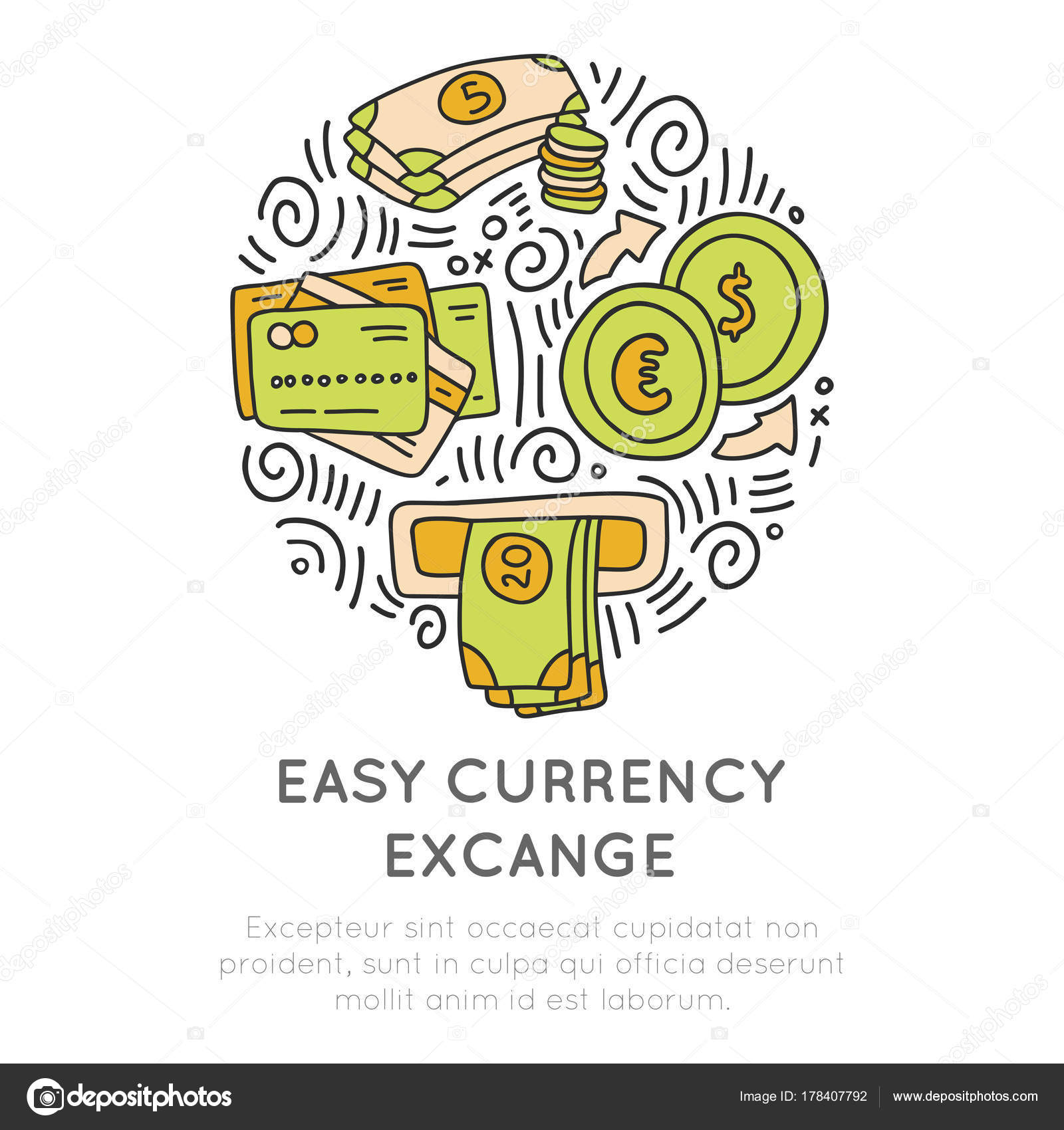 Easy currency excange in travel icon concept. Vector hand