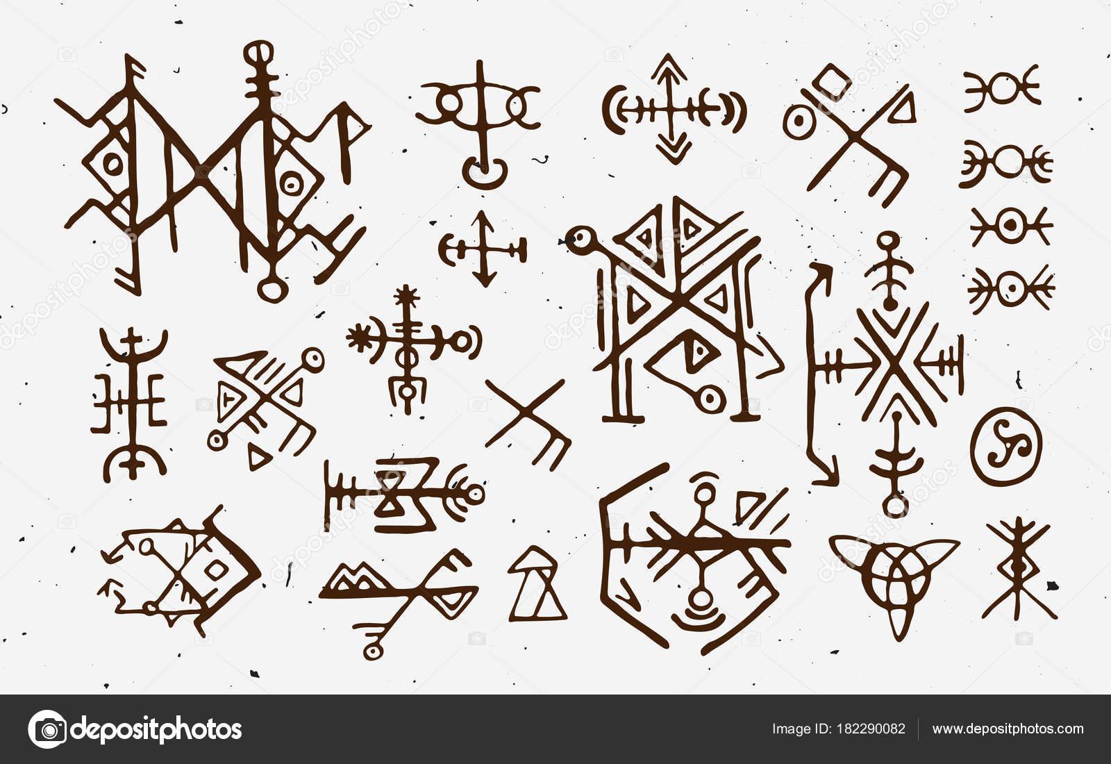 Futhark norse islandic and viking runes set magic hand draw symbols futhark norse islandic and viking runes set magic hand draw symbols as scripted talismans vector set of ancient runes of iceland buycottarizona Choice Image