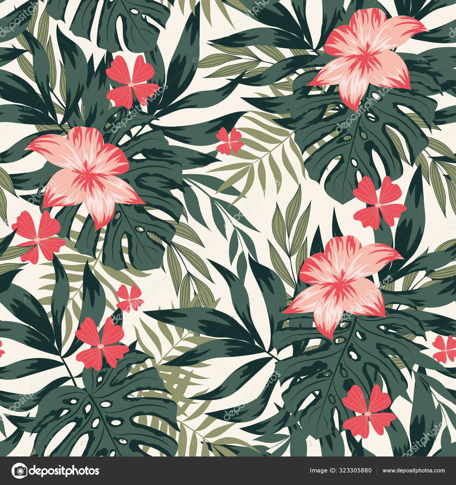 Seamless Pattern Tropical Leaves Flowers Exotic Wallpaper Hawaiian